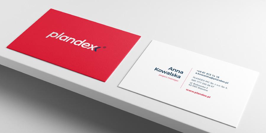 projekt wizytówki uszlachetnienia logo firma Plandex