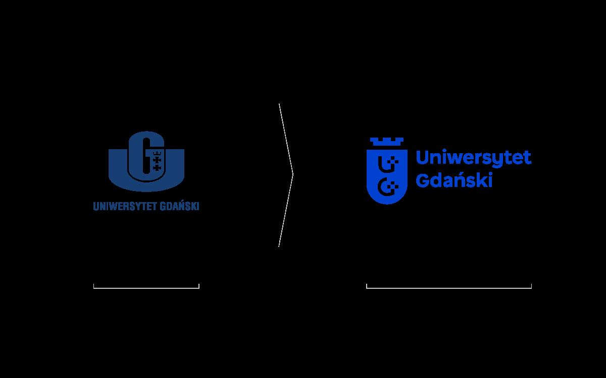 nowy znak Uniwersytetu Gdańskiego projekt Studio Spectro przed i po
